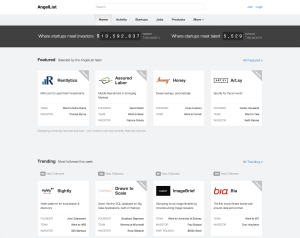A screenshot of AngelList mainpage