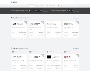 A screenshot of AngelList mainpage